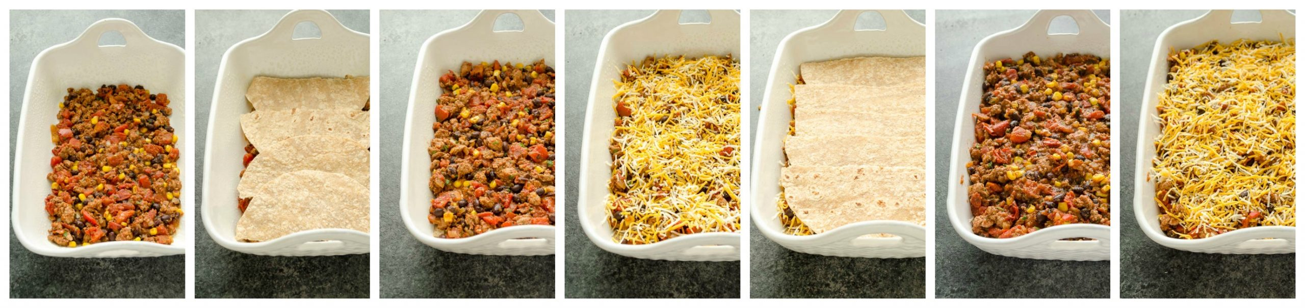 Mexican Turkey Tortilla Casserole layering