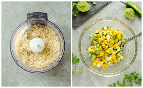 Macadamia Crusted Mahi Mahi with Mango Avocado Salsa is pan seared macadamia crusted mahi mahi topped with a fresh flavorful mango avocado salsa. It's a delicious dinner that's on the table in 30 minutes! @FlavortheMoments