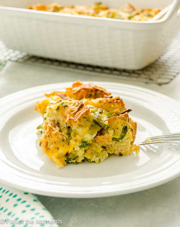 Overnight Cheesy Broccoli Strata is an easy make-ahead breakfast casserole loaded with broccoli, leeks, and plenty of cheese. It's perfect for busy mornings or weekend brunch! @FlavortheMoment