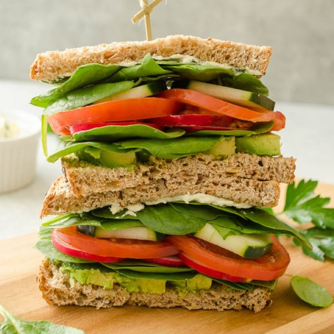 Ultimate Veggie Sandwich with Lemon Herb Cream Cheese