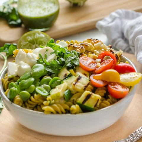 Grilled Vegetable Summer Succotash Pasta Salad