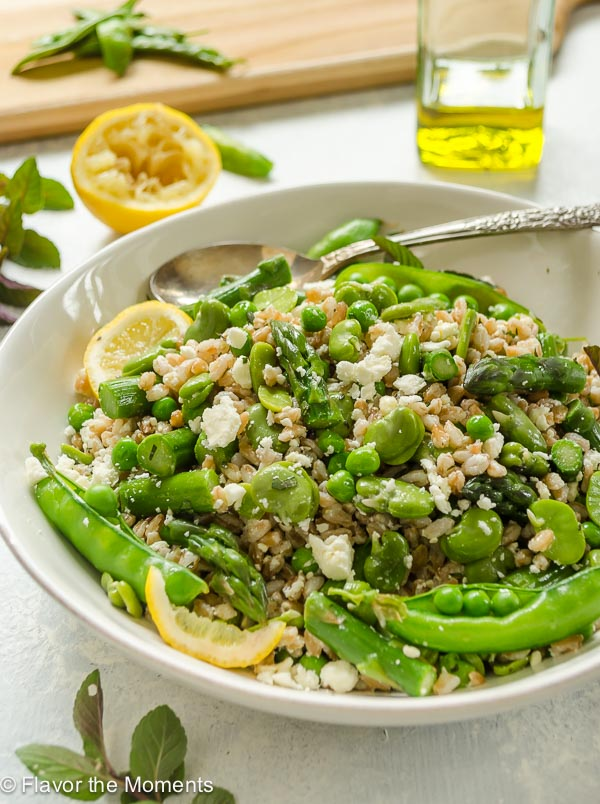 Spring Farro Salad with Feta, Lemon, and Mint is a hearty salad packed with spring produce and the freshness of lemon and mint. It makes a perfect side dish or lunch! @FlavortheMoment