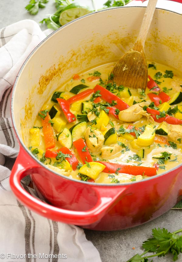 30-Minute Coconut Curry Chicken and Vegetables is a high-protein meal loaded with tender chicken, seasonal veggies, and creamy coconut curry sauce! @FlavortheMoment