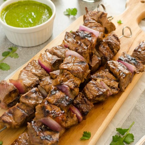 Honey Soy Steak Kebabs with Cilantro Lime Sauce