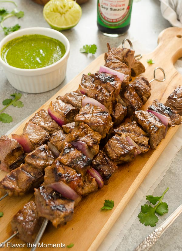 Honey Soy Grilled Steak Kebabs with Cilantro Lime Sauce are tender, flavorful beef kebabs served with a fresh cilantro lime sauce! @FlavortheMoment