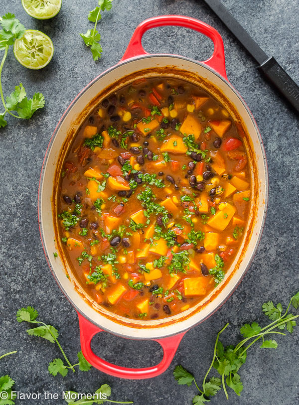 Sweet Potato Black Bean Tortilla Soup is a vegan version of classic tortilla soup that's every bit as hearty! {GF, Veg, V} @FlavortheMomen