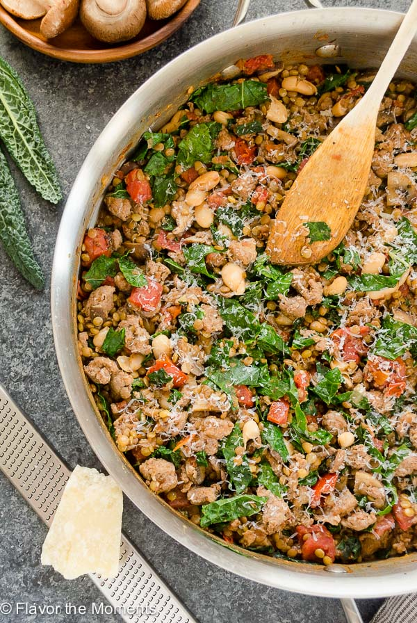 Tuscan Sausage, Wild Mushroom, Kale and Lentil Skillet is a rustic, comforting meal that's packed with flavor! {GF} @FlavortheMoment