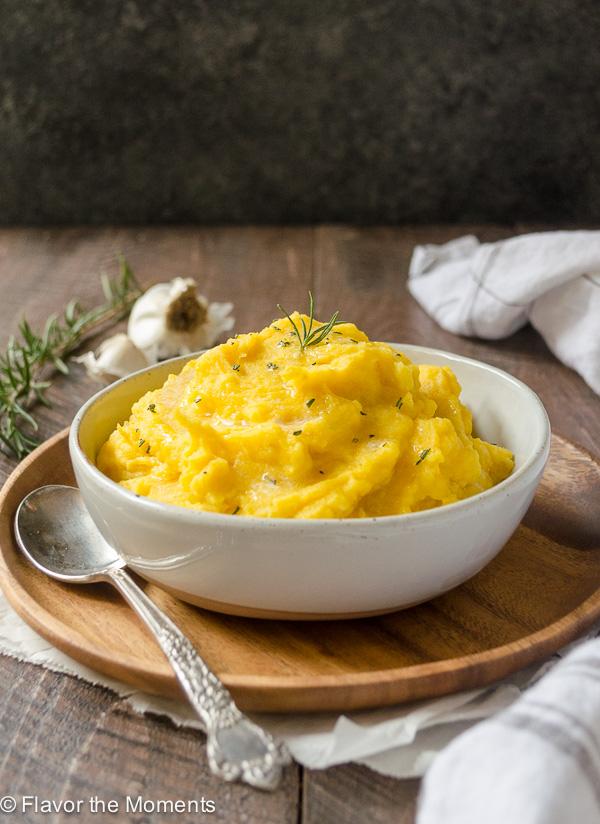 Kabocha Squash Mashed Potatoes in bowl front view