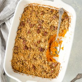 Maple Orange Sweet Potato Casserole with Oat Pecan Streusel is fluffy, flavorful sweet potato casserole with a crunchy streusel that will make you forget all about those marshmallows!