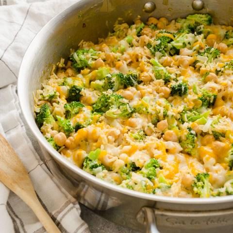 One Pot Cheesy Broccoli Chickpea Rice Casserole