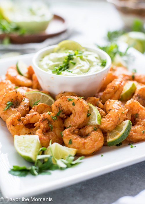 Blackened Shrimp with Avocado Ranch Dip is pan fried blackened shrimp served with a cool, creamy avocado ranch dip! {GF}