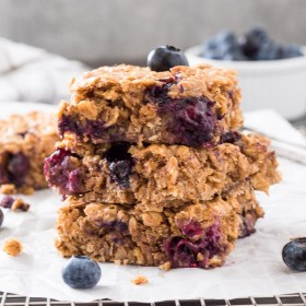 Blueberry Banana Almond Butter Oat Bars are wholesome, flourless bars with no refined sugar. They're perfect for breakfast and snacks! {GF, DF, VEG}