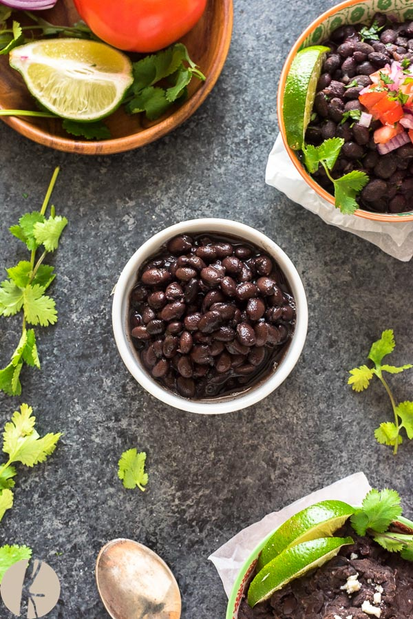 Easy Instant Pot Black Beans (No Soaking) are homemade black beans cooked in the pressure cooker in minutes with two Mexican-style recipe variations! #instantpot #blackbeans #pressurecooker #vegetarianrecipes #glutenfree #mexican