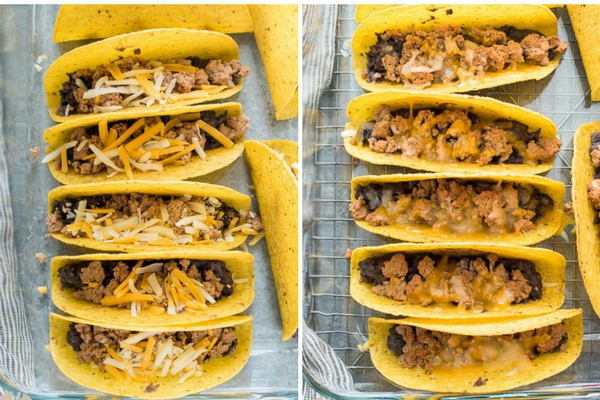 Oven Baked Turkey Black Bean Tacos are crisp taco shells filled with spicy ground turkey, homemade black beans and cheese.  Top with your favorite toppings for an easy weeknight meal! #taco #turkey #blackbean #crispy #ovenbaked #glutenfree #mexican #recipe