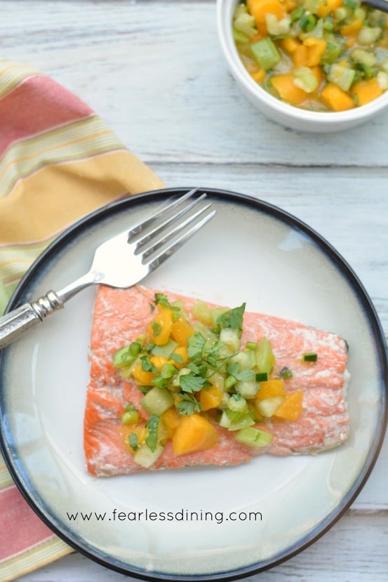 Salmon with Tomatillo and Papaya Salsa
