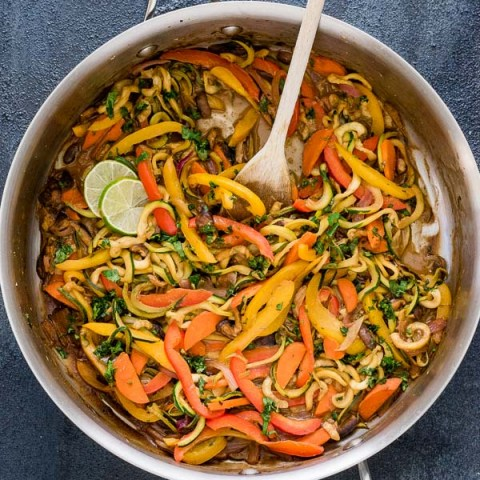 Vegetarian Thai Peanut Zucchini Noodles are an easy low carb meal packed with zoodles and veggies in a delicious Thai peanut sauce!