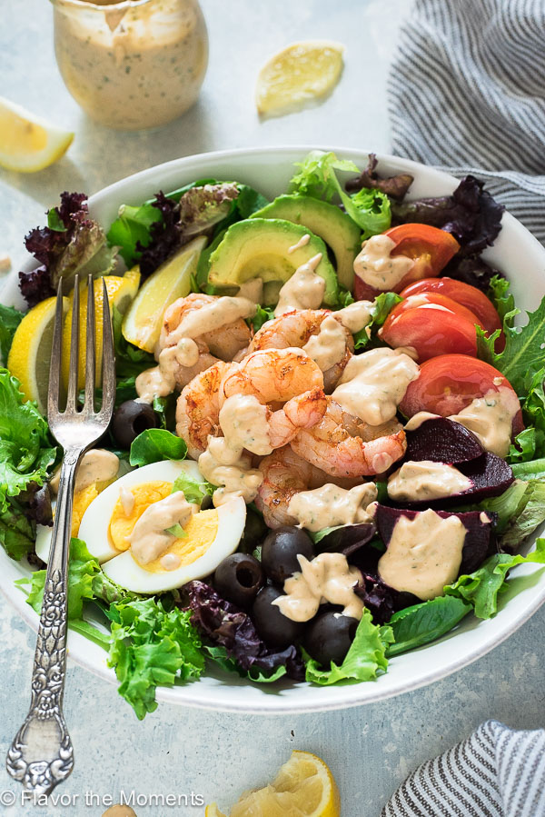 Grilled Shrimp Louie Salad is classic shrimp louie salad with smoky grilled shrimp and fresh, creamy homemade louie salad dressing! {GF, DF}