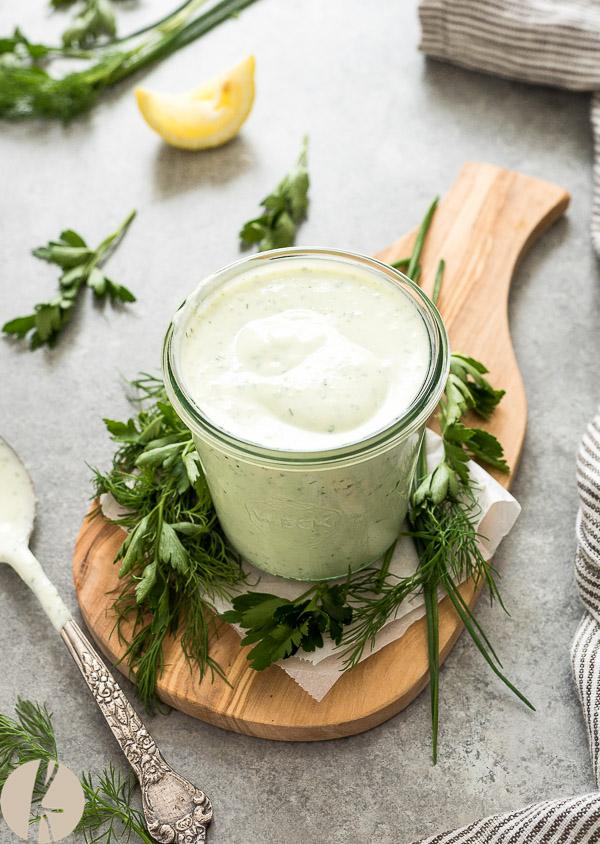 Homemade No Mayo Greek Yogurt Ranch Dressing is creamy, healthy ranch dressing that's bursting with fresh flavor!