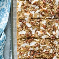 Hummingbird baked oatmeal in baking dish cut into squares