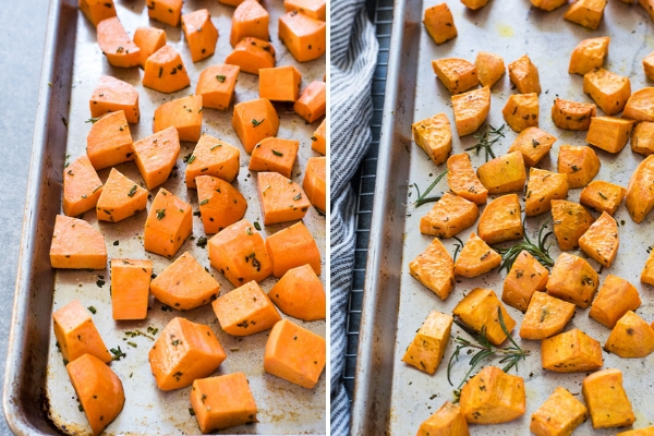 Rosemary Parmesan Roasted Sweet Potatoes are a quick and easy savory sweet potato recipe that makes the perfect healthy side dish!