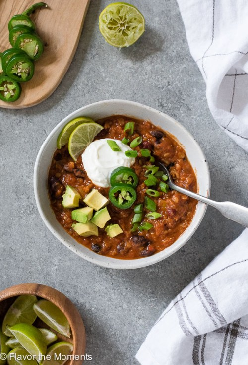 Instant Pot Vegetarian Taco Lentil Chili is hearty, healthy vegetarian lentil chili with homemade taco seasoning that's made in only one pot!