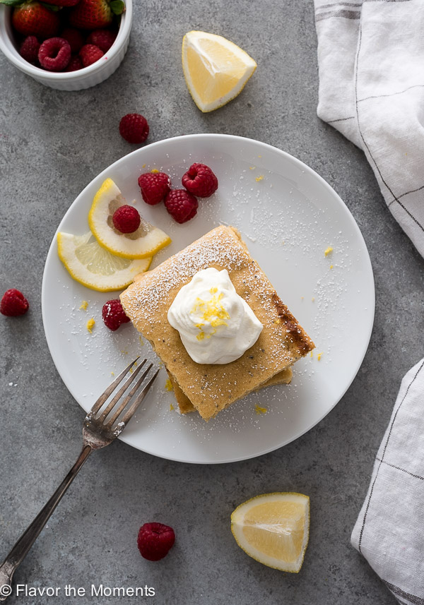 Lemon Poppy Seed Sheet Pan Pancakes are super fluffy, healthy sheet pan pancakes made with whole wheat flour and Greek yogurt!