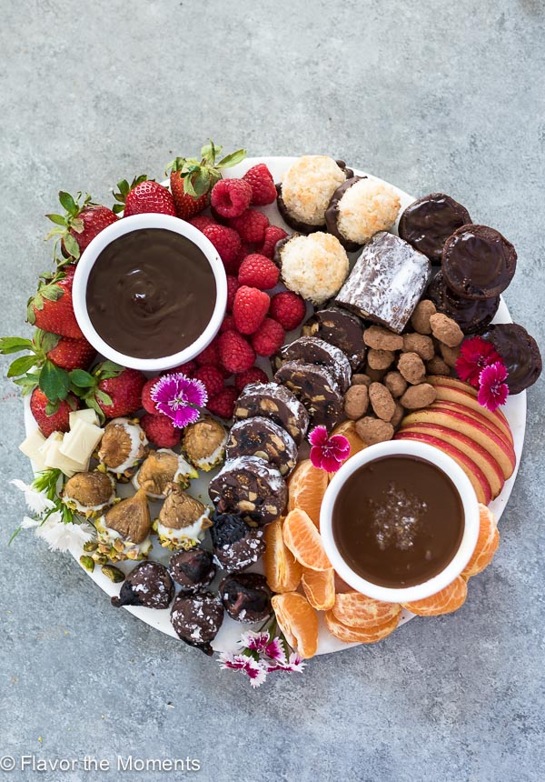 overhead view of chocolate dessert platter