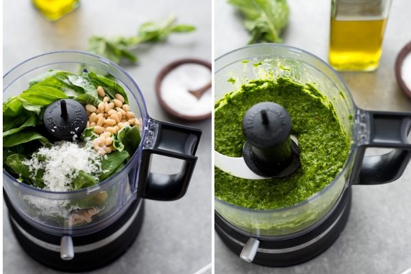 pesto sauce in food processor - before and after