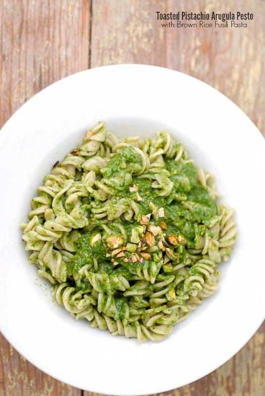 Toasted Pistachio Arugula Pesto with Brown Rice Fusili Pasta