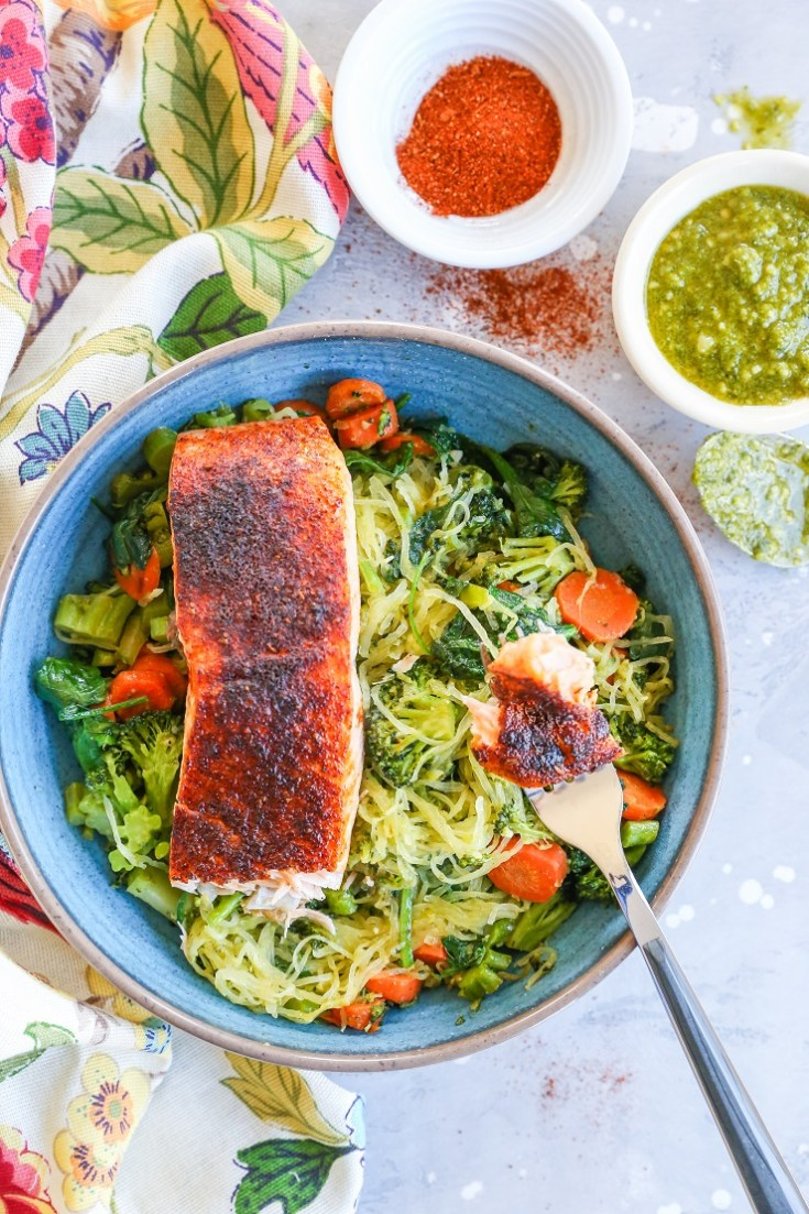 Crispy Salmon Bowls with Pesto Spaghetti Squash