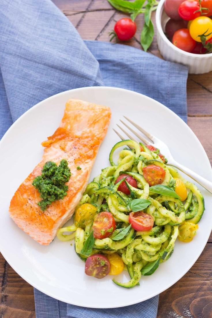 Kale Pesto Zucchini Noodles and Salmon