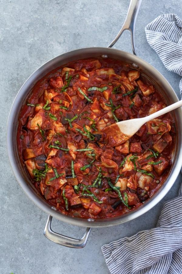Keto mediterranean spaghetti sauce in skillet