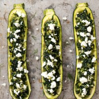 Spanakopita Stuffed Zucchini Boats