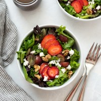 Strawberry Salad with Grapes, Feta and Walnuts