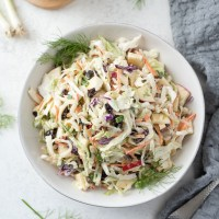 Creamy No Mayo Coleslaw with Apples and Fennel