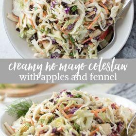 creamy no mayo coleslaw collage