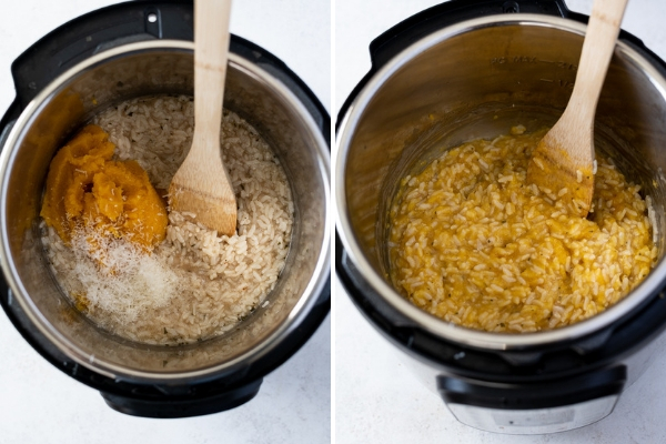 pumpkin risotto instant pot process collage