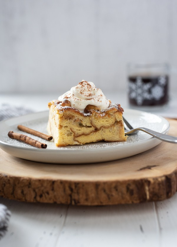 eggnog french toast casserole with whipped cream