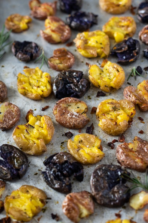 crispy smashed tri colored baby potatoes with rosemary