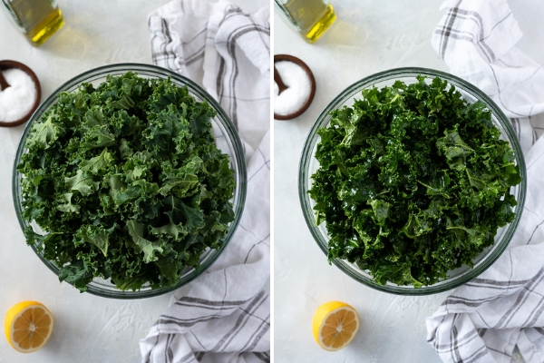 overhead shot of kale in bowl before and after massaging