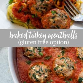 baked turkey meatballs collage