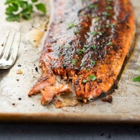 close up of boiled salmon with salmon rub flaked with a fork