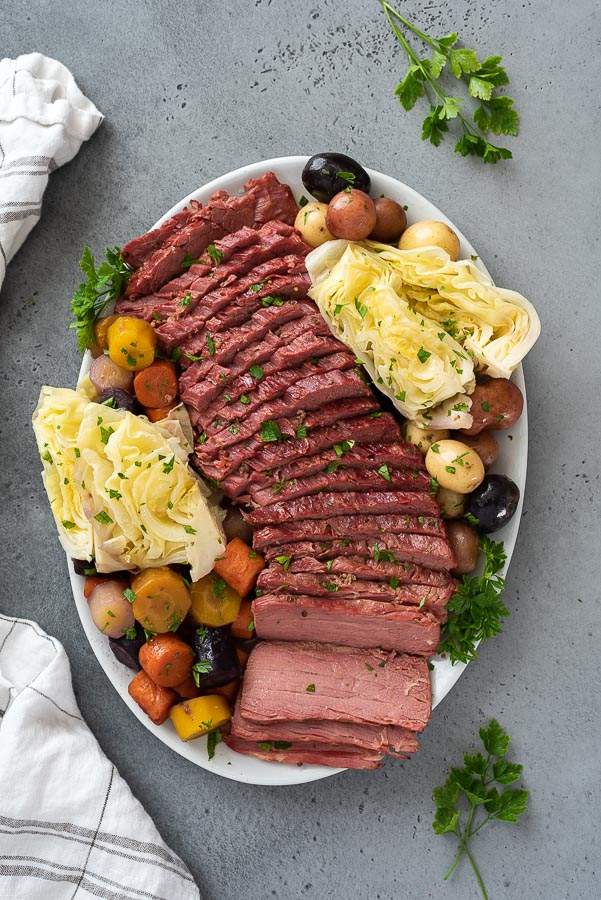 distant overhead shot of corned beef and cabbage platter