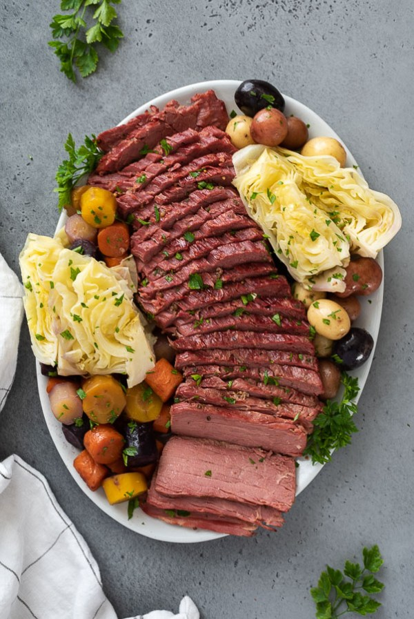 close up overhead shot of corned beef and cabbage platter