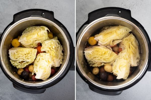 instant pot corned beef and cabbage process collage 2