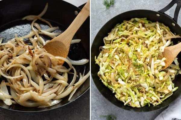 caramelized onions and sautéed cabbage collage