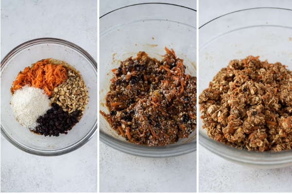process collage for carrot oatmeal cookies