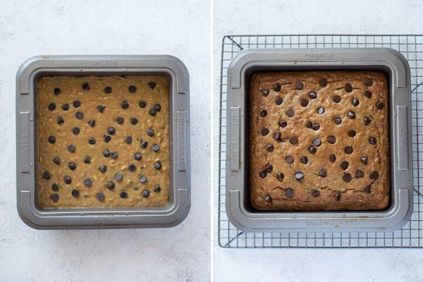 healthy banana cake before and after baking