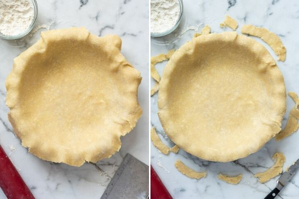 pie dough in pan before and after trimming
