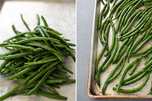 roasted green beans process collage 1